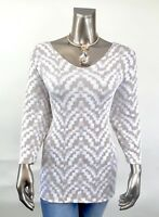CHICO'S *NEW SIZE 3. (XL) BEIGE GOLD GEOMETRIC V NECK 3/4 SLEEVES TUNIC TOP