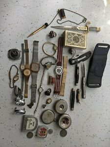 Vintage JUNK DRAWER LOT  Pocket Knives Mens Jewelry Coins Watches Unique Items