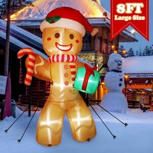 8FT Christmas Inflatable Gingerbread Man Air Blown Light Up Yard Outdoor Decor