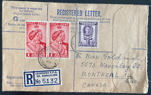 1949 Hargeisa Somaliland Registered Cover To Montreal Canada Silver Wedding Stam