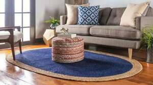 oval braided jute area rug blue color and natural border indian jute oval rugs