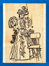Woman in Victorian Dress Rubber Stamp - 1890s Leg of Mutton Gigot Sleeve Parasol