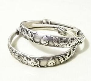 Rare 2 Miao Silver Carved DRAGON Men's Bracelet Bangle