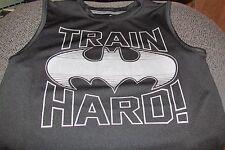 "BOY'S TRAIN HARD Batman sleeveless shirt size 5 poly 19"" long black.silver (D-L)"