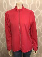 ADIDAS Climaproof Red Orange Running Hooded Jacket Sz Large Zip Windbreaker Euc