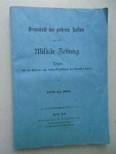 Verzeichnis der größeren Aufsätze Militär-Zeitung 1878 -1895 Militärzeitung 1896
