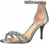 BADGLEY MISCHKA Womens Caroline Fabric Open Toe Special, Silver, Size 5.5 qQpw