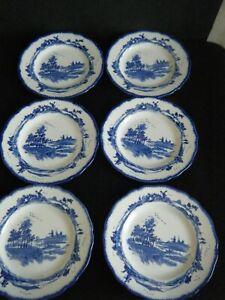 Vintage Royal Doulton Blue & White Norfolk 6 x tea cake bread plates