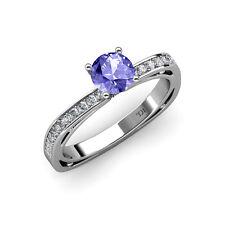 Tanzanite & Diamond (SI2-I1, G-H) Euro Shank Engagement Ring 0.80 ct tw 14K Gold