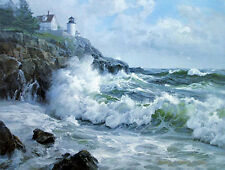 Nice Oil painting seascape ocean waves with lighthouse canvas 36""