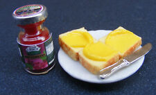 1 12 Scale Strawberry Jam Knife Bread & Butter on a Ceramic Plate Dolls House