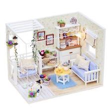 1/24 Miniature DIY Wood Doll House Simple Kitten Diary w/ Furniture, Light UK