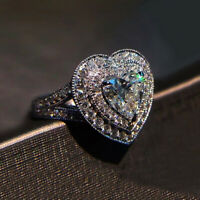 Luxury 925 Silver White Sapphire CZ Heart Shaped Wedding Ring Engagement Jewelry