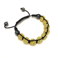 Yellow Shamballa Adjustable Bracelet 10 mm 9 Disco Balls Beads Crystal Bangle