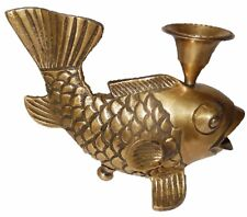 Decorative Gold Fish Candle Holder Handmade Brass Oil Wick Diya Table Decor TD91