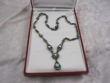 Austro Hungarian Antique Turquoise Pearl Silver Necklace ( Hallmarked )