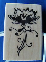 NEW INKADINKADO WOOD MOUNTED RUBBER STAMP FLOWER 99608 325