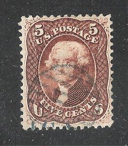 U.S. Scott 75 Jefferson 5c red brown stamp.