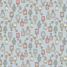 coupon de tissu patchwork shabby Petites Bouteilles de Parfum Bleu 45x55cm