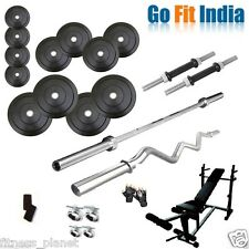 6 in 1 Bench Home Gym Set 100kg Weight + 5FT Plain + 3FT Curl Rod by Gofit