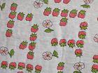 Vintage Cotton Stretch Knit Fabric Strawberries 2 Yds + 24' X  53' Wyd