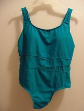 Catalina size 2X(18W-20W) Teal (green-Verde) one piece bathing suit 82% Nylon