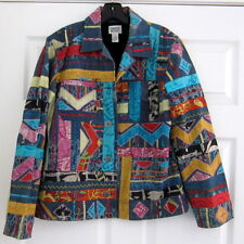 CHICO'S STUNNING COLORFUL DENIM JACKET HEAVY PATCHWORK EMBROIDERED  SZ. 1 SMAL
