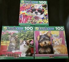 New 100 Piece Jigsaw Puzzle (Lot of 3) Cats Kittens Dogs Puppies