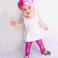 Kids Baby Girls Toddler Metallic Shiny Skinny Pants Leggings Trousers Soft Cute