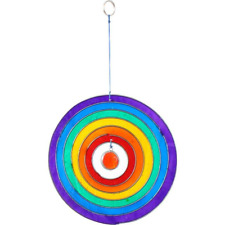 Rainbow Sun Catcher Full Circle Mobile 12cm Hanging Stained Glass Style Window