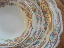 55 PC VINTAGE USA POTTERY FLOWER GOLD TRIM PLATTERS SUGAR CREAMER SERVING BOWLS