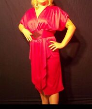 Vintage Magenta Pink Draped Plunge Neck Cinched Waist Belted Party Dress