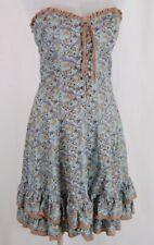 Women's BETSEY JOHNSON Corset Dress Blue Floral Ruffle Crochet Strapless Sz 10
