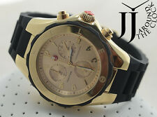 NEW MICHELE TAHITIAN LARGE BLACK JELLY BEAN SWISS GOLD DIAL WATCH MWW12F000034