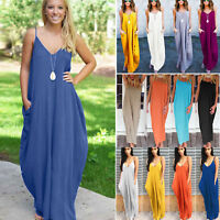 Plus Size Women's Boho Maxi Dress Loose Beach Holiday Strappy Summer Sundress