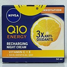 NIVEA Q10 ENERGY RECHARGING NIGHT CREAM VITAMIN C + E ANTI-OXIDANTS 50ML