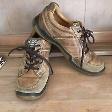 ☘️ ECCO Mens Brown Leather Walking Hiking Lace Up Shoes Casual Sz 42 9 8