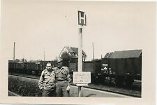 1945 WWII US Army 332nd Engineers HQ sign & GIs & train Photo  Kassel Germany