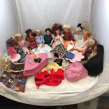12 Barbie Fashion Dolls And Furniture
