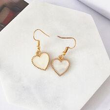 UK Seller* Beautiful Pearl White  Simple Heart Ladies Earrings Gold Dangle