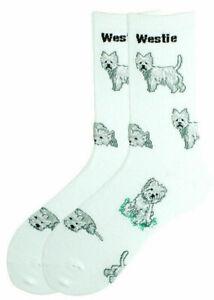 1 Pair Westie / West Highland Terrier Dog Design Socks - Ladies Mens