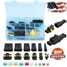 Waterproof Car Auto 1-6 Pin Way Electrical Wire Connector Plug Set + Blade Fuses