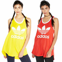 adidas Originals Women's Trefoil Logo Relaxed Fit Vest Track Tank Top Red Yellow