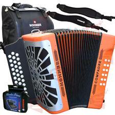 Hohner Compadre GCF Sol Diatonic Accordion Orange + Bag, Strap, 3pk Harmonica