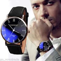 Men's Luxury Faux Leather Band Stainless steel Quartz Analog Fashion Wrist Watch