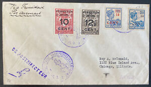 1929 Suriname First Flight Airmail Cover FFC To Chicago IL Usa