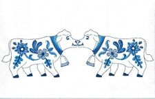 One Embroidered Flour Sack Towel - Delft Blue Kissing Cows