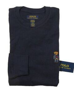 Polo Ralph Lauren Men's Navy Denim Bear Waffle Knit Thermal Crew-Neck T-Shirt