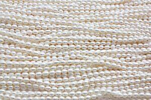 2-3 Oval echt Zuchtperlen Strang Süßwasser Perlen Schmuck Kette Halskette