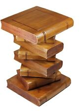 "Large 20"" Wooden Stacked Book Side Table / Stool / Lamp Plant Stand. Brown"